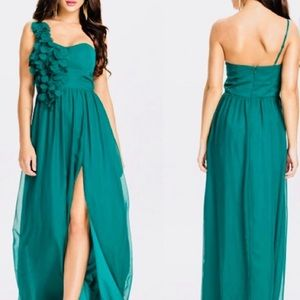 One green, one black - flowy, one-shoulder dress